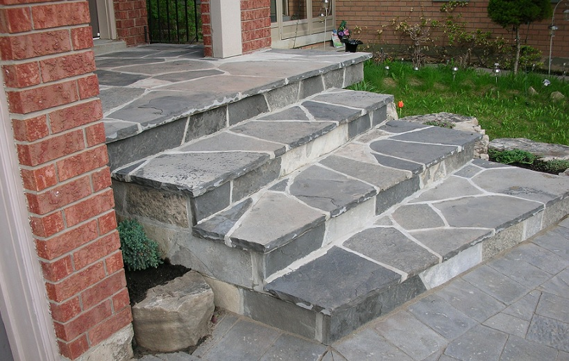 Front Entrance Natural Flagstone Stairs